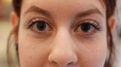 After Makeup Artist Attaches False Eyelashes Beauty Salon Procedure Stock Footage