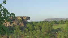 Mid Shot of some rock formations at Ubirr, Kakadu, Australia Stock Footage