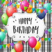 Happy Birthday greeting card with balloons, flags and confetti Piirros