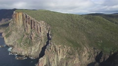 Flying around rugged cliffs of Cape Hauy in Tasman National Park, Tasmania Stock Footage
