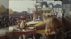 Alice in Wonderland Float Rose Parade Pasadena Cal Vintage Film Home Movie  Stock Footage