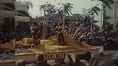 City of Van Nuys California Rose Parade Hula Girls Vintage Film Home Movie  Stock Footage