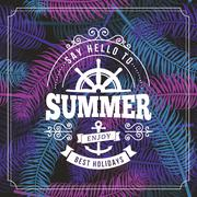 Summer holidays typography poster on seamless background Piirros