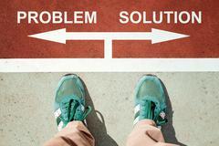 Problem or solution dilemma Stock Photos