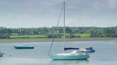 View of the small boats floating in Tarbert Stock Footage