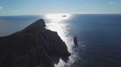 Backward flight over Cape Hauy at Tasman National Park, Tasmania, Australia Stock Footage