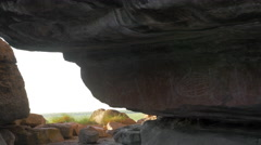 Rock Art by Ancient Indigenous at Ubirr, Kakadu, Australia Stock Footage