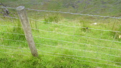 The wire fences on the mountains in Ireland Stock Footage