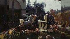 Disney Bambi Float Rose Parade Pasadena Vintage Film Home Movie  Stock Footage