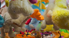 Lots of different stuffed toys for sale Stock Footage