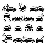 Road accident, car crash, personal injury vector icons set Stock Illustration