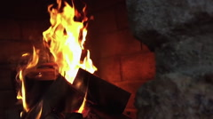 Wood Burning In Fireplace in Slow Motion Stock Footage