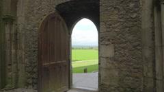 The open door of the Rock of Cashel in Ireland Stock Footage