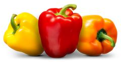 Group of multi colored bell peppers isolated on white background Stock Photos