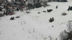 Mountain tourist resort which is seen on the glass scratched of the cable car Stock Footage