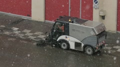 Cleaner streets that operates even when it snows outside power Stock Footage