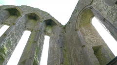 The old walls inside the Rock of Cashel Stock Footage