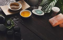 Spa treatment, aromatherapy background. Details and accessories Stock Photos