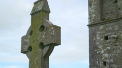 High cross stonehenge outside the Rock of Cashel Stock Footage