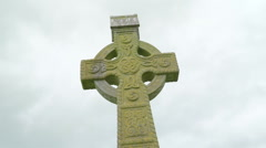 The mosses on the high cross outside the Rock of Cashel Stock Footage