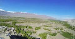 Panorama of mountains and valleys from the roof lamasery (gompa) of Ladakh Tiksi Stock Footage
