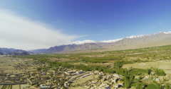Panorama of mountains and valleys from the roof lamasery Stock Footage
