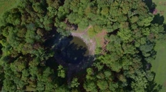 Aerial view of Kaali crater. Saaremaa, Estonia Stock Footage