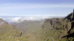 Panoramic view of windy road in Tenerife mountains, Spain Stock Footage