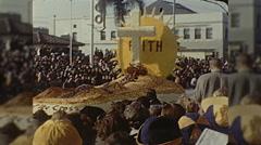 Rose Parade Cross of Jesus Float Pasadena Vintage Film Home Movie  Stock Footage