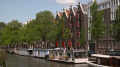General view of floating houses in Amsterdam Stock Footage
