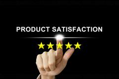 Business hand pushing product satisfaction on screen Stock Illustration
