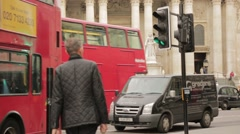 Wide View of St.Pauls Steps with Buses Driving by Stock Footage