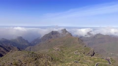 Tenerife mountains and windy road, aerial view Stock Footage
