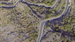 Overhead view of windy road in Tenerife mountains, Spain Stock Footage