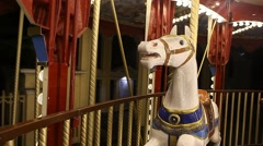 County fair fairground merry-go-round at night Stock Footage
