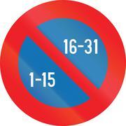 Belgian regulatory road sign - Semi-monthly parking prohibition Stock Illustration