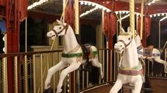 County fair fairground merry-go-round at night Stock Footage