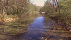 Clear creek in wooded area during autumn Stock Footage