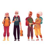 Senior, old couple travelling with backpacks Stock Illustration