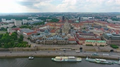 Dresden, Germany. Aerial view of ancient buildings along city river Stock Footage