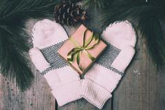Christmass Gift Box And Mittens Stock Photos