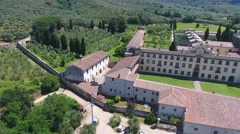 Aerial view of Calci Charterhouse, Pisa Stock Footage