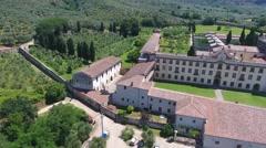 Aerial view of Calci Charterhouse, Pisa Stock Footage