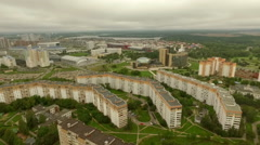Typical residential buildings in a typical soviet town, dormitory area Stock Footage