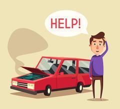 Broken car. Vector cartoon illustration. Need help Stock Illustration
