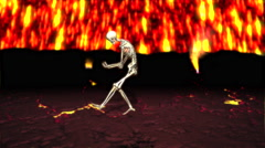 Funny Skeleton Air Guitar Player in Hell Animation Stock Footage