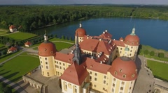 Aerial view of magnificent Moritzburg Castle, Saxony Stock Footage