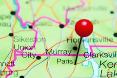 Paris pinned on a map of Tennessee, USA Stock Photos