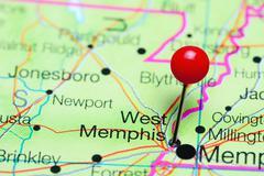 West Memphis pinned on a map of Arkansas, USA Stock Photos