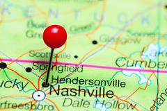 Hendersonville pinned on a map of Tennessee, USA Stock Photos